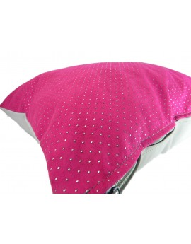 Cojín rosa mexicano con puntos