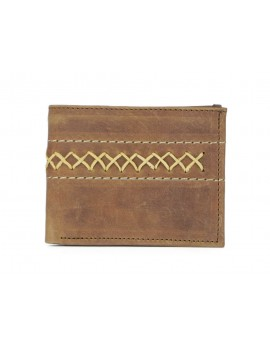 Brown Leather Wallet Stitches