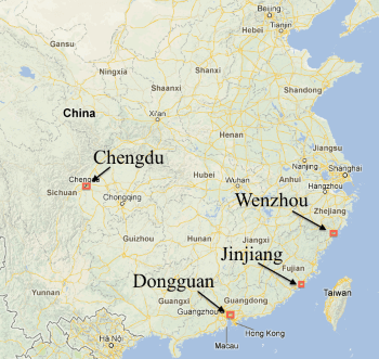 map of location of shoemakers chinese cities